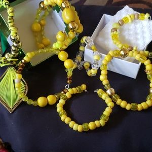 Jewelry - Beaded bracelets with gold bling.
